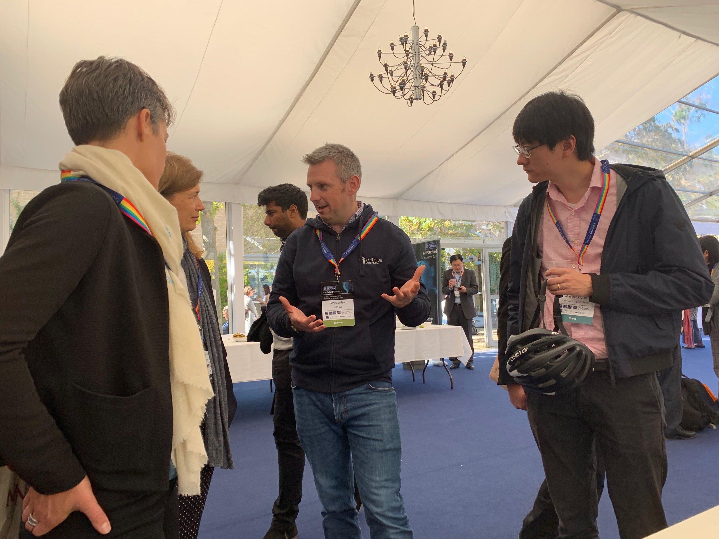 James Wilson, Director of Customer Success at Diffblue, meeting guests at AI@Oxford