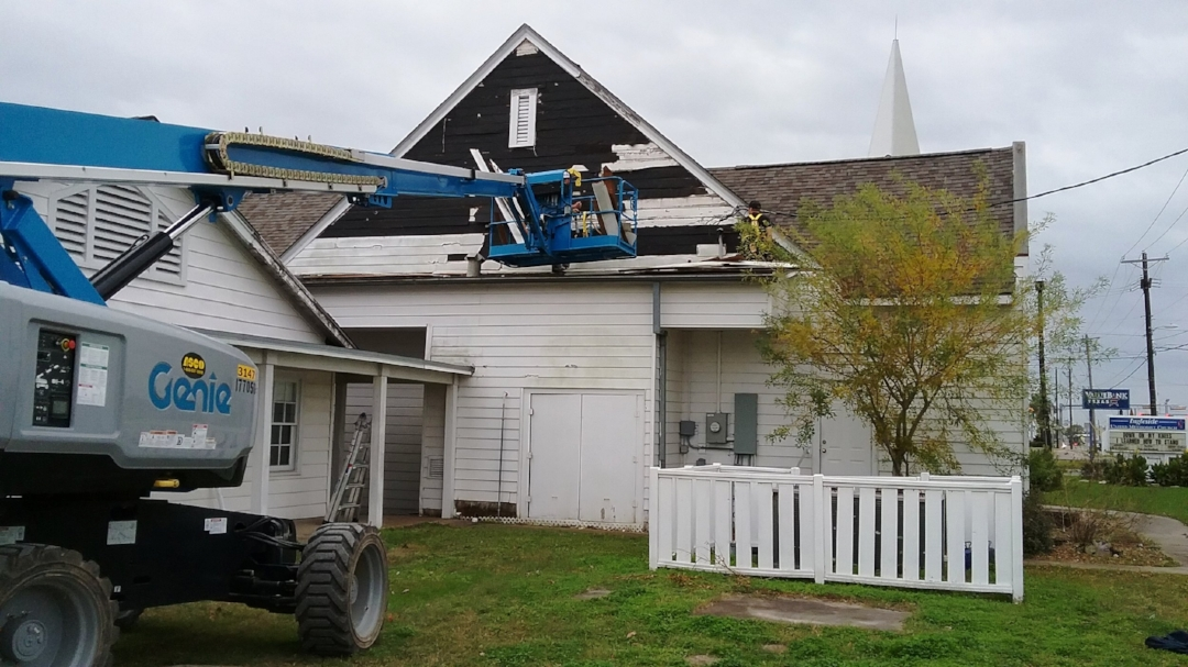 Starting work on the siding of the Sanctuary.