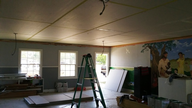 The old nursery with sheetrock installed.