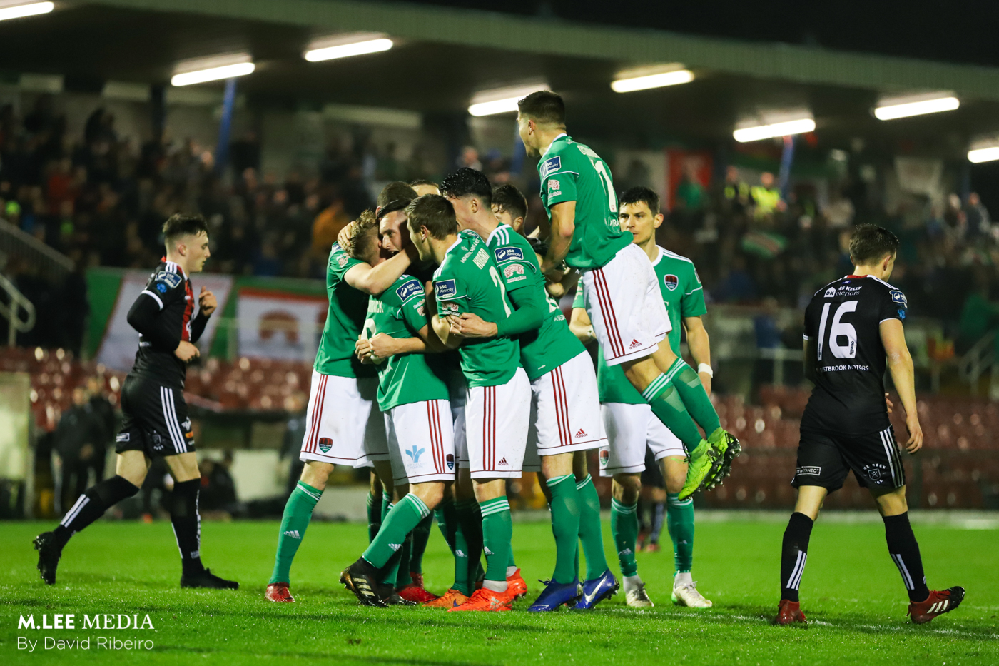 Cork City celebrating the first goal of the evening.