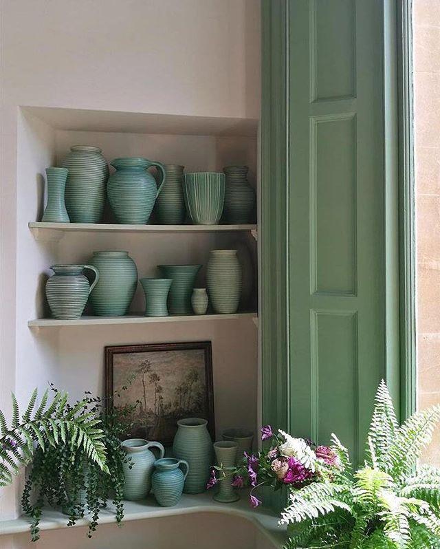 Love this idea  Repost from @ farrowandball This quaint corner painted in 'BreakfastRoomGreen' and 'JamesWhite'.