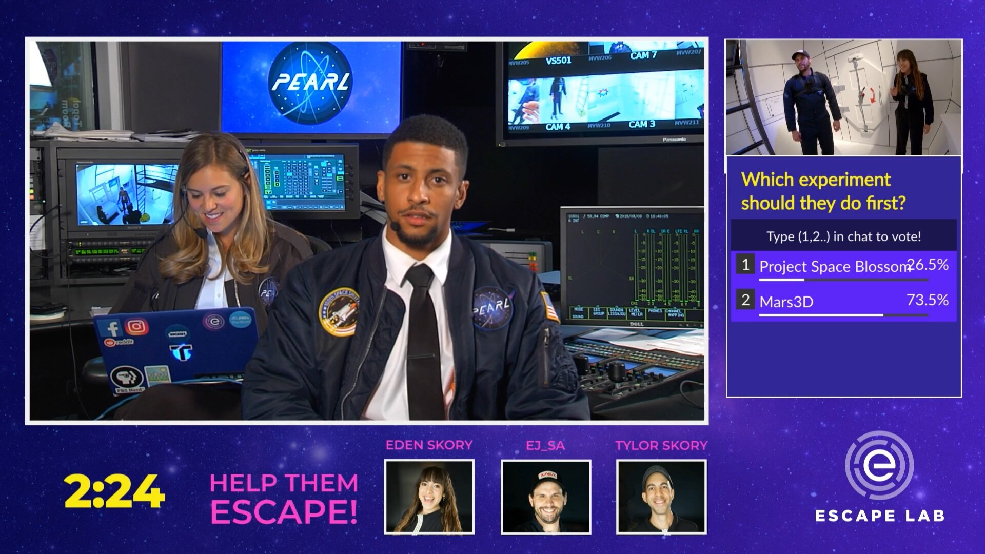 Escape Lab WGBH - featured on Twitch - Viewed by over 43,000 live participants, Justin plays the charismatic host of a science game show where YouTube and Twitch influencers compete to return to earth safely!