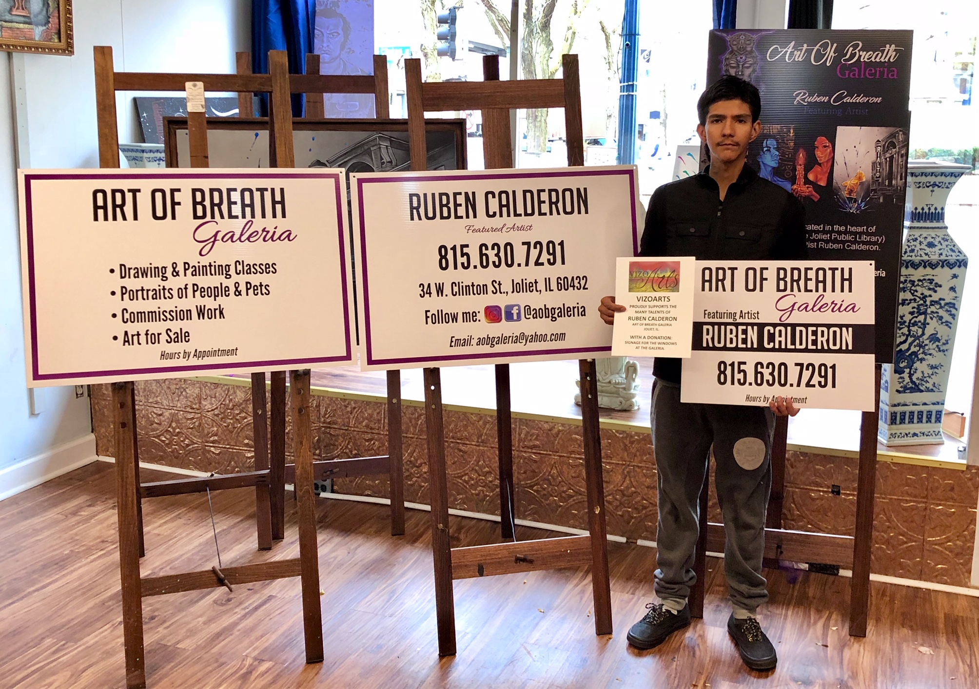 VizoArts funded the new signage for the front windows at  Art of Breath Galeria  in Joliet, IL.