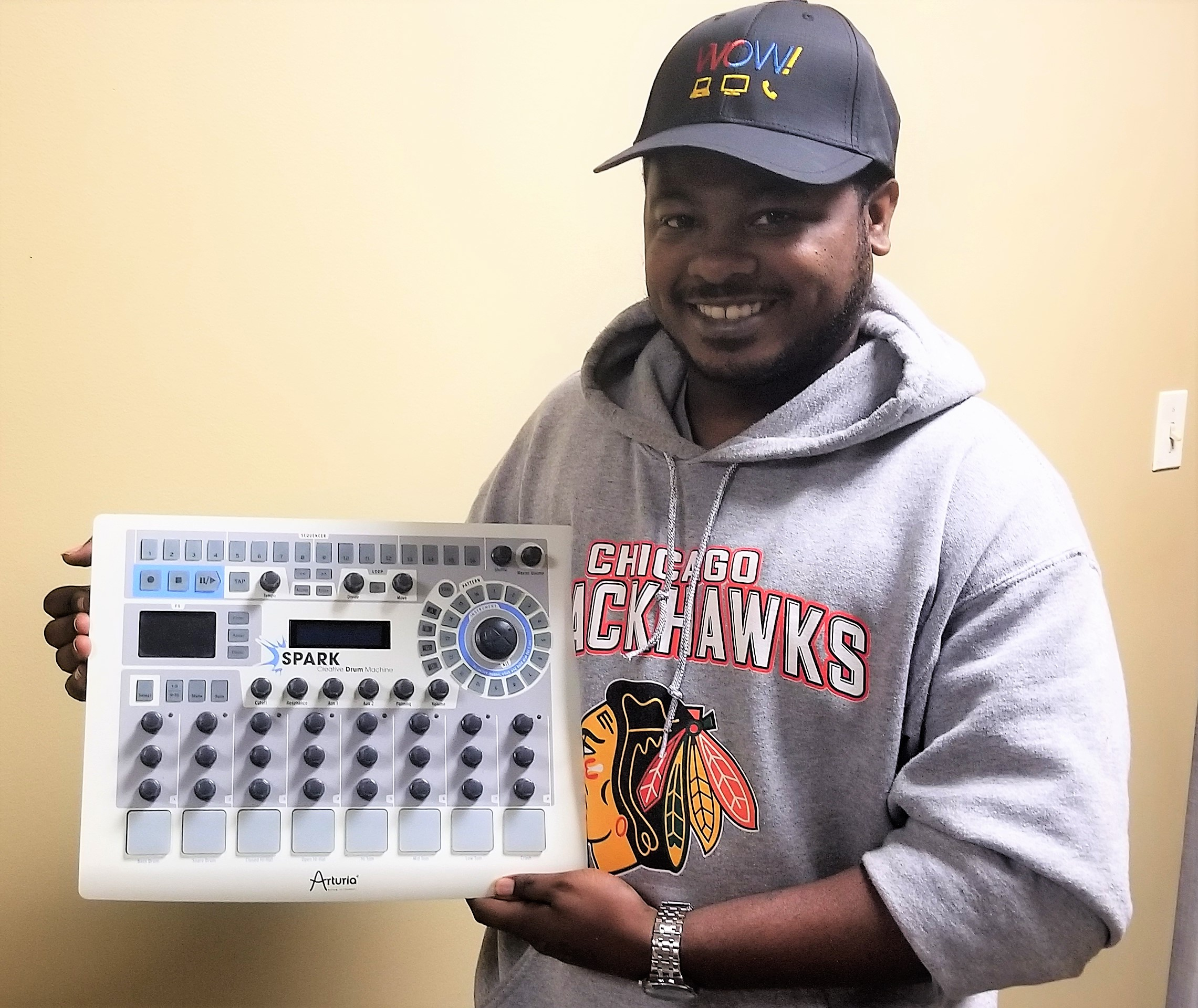 Kottrell Johnson holding the Arturia Creative Drum Machine