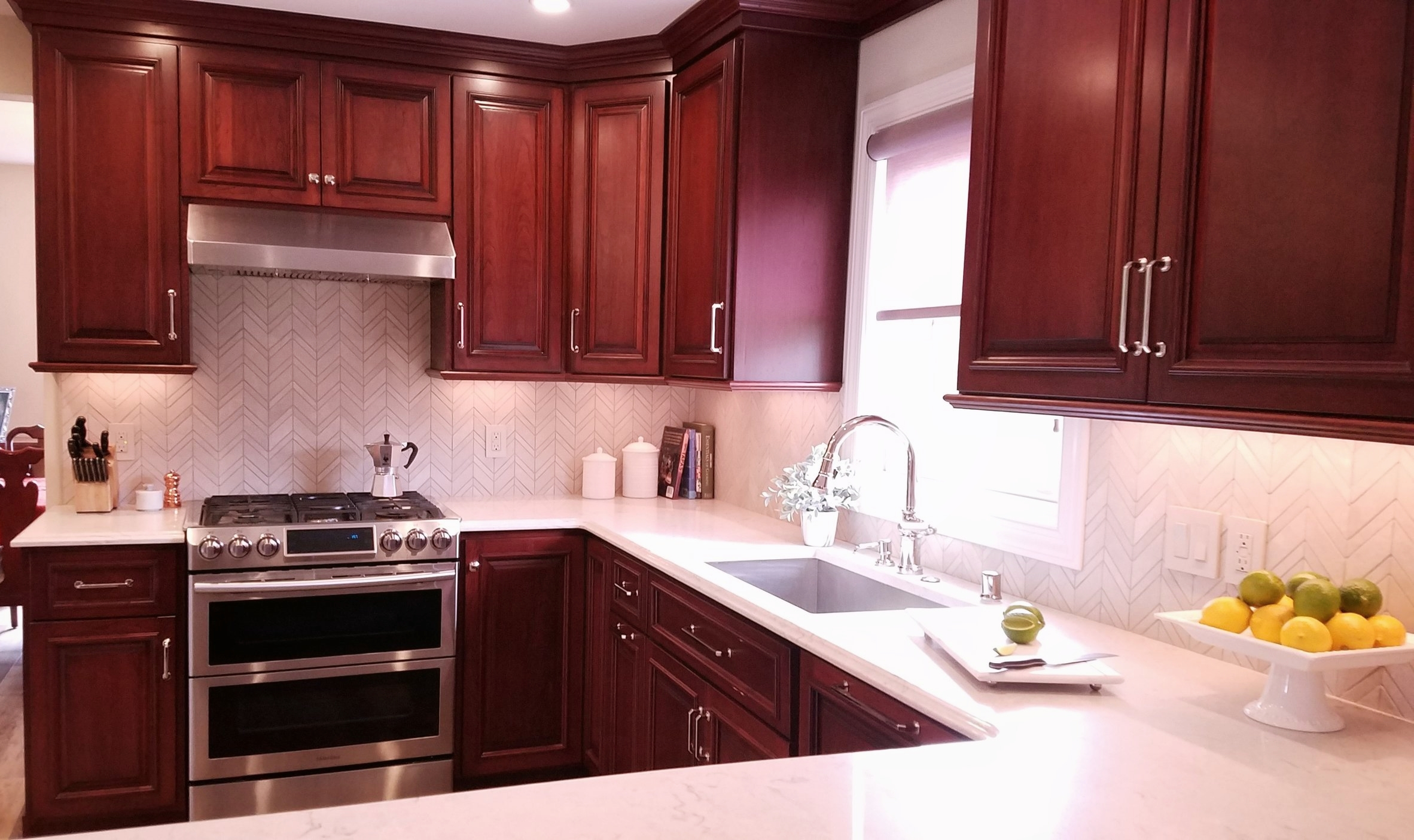Traditional kitchen cherry cabinets white cabinets custom cabinetry