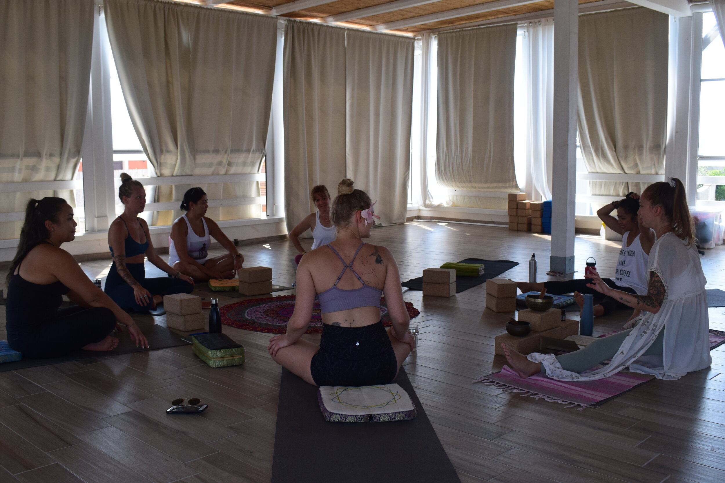 Group Yoga Therapy - Group yoga therapy is offered by professionals who integrate psychotherapy with yoga to help address mental health challenges.In collaboration with Yoga Therapists, we offer a limited number of pay what you can spots.