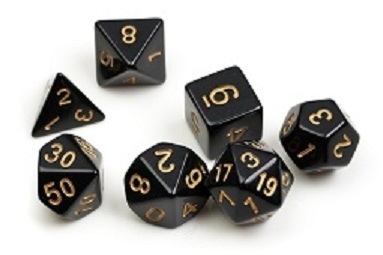 Dice Set - Black with gold