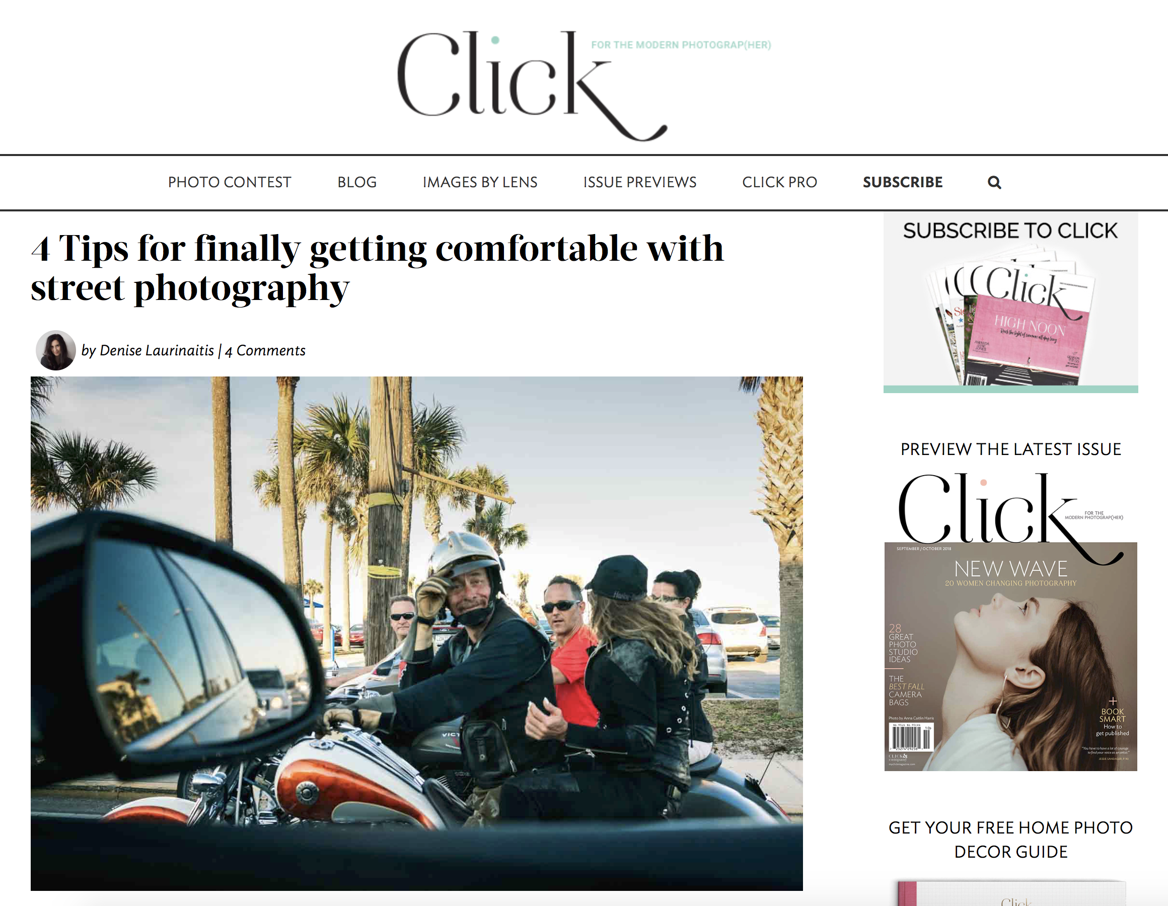 Click Magazine Blog Post,4 Tips For Finally Getting Comfortable with Street Photography - June 2018