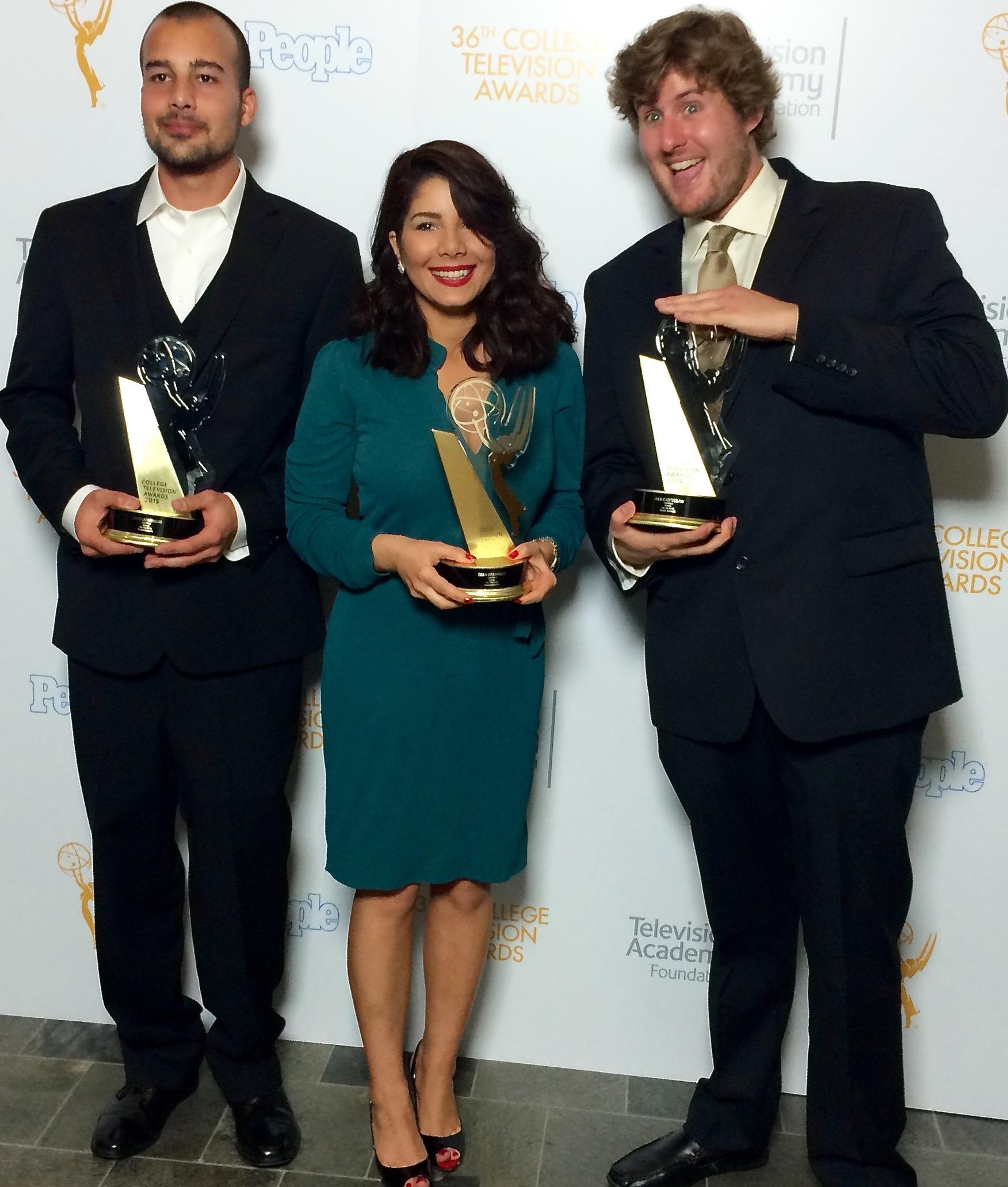 College Emmy Awards . Orod Atashgah, Tara Atashgah & Jack Castellaw .