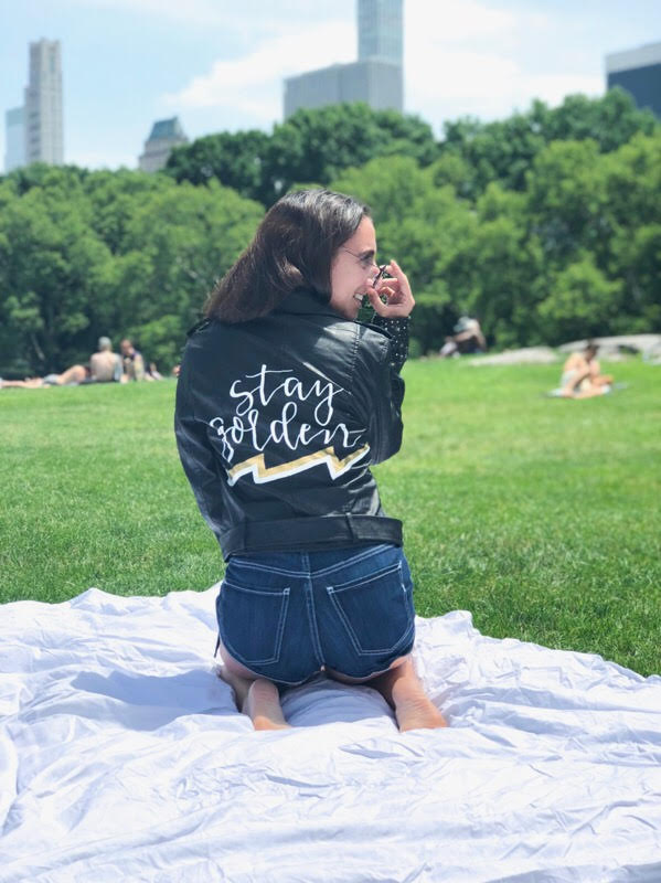 """NICOLE C. - """"Honestly from beginning to end the process of getting a custom jacket from ROBINHILL was absolutely effortless. The custom faux leather jacket was even more beautiful and detailed than I could have imagined — it also blew me away that this was free hand painted!! So happy with my jacket and can't wait to order more!"""""""