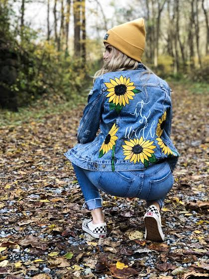 """Emily K. - """"ROBINHILL made me a jacket that I am absolutely in love with! I gave Chelsea some ideas and let her imagination and creativity do the rest. My denim jacket is simple, classy, stylish and I couldn't have asked for a better design! If you're looking for a beautiful, quality piece with great customer service, ROBINHILL is the brand to go to!"""""""