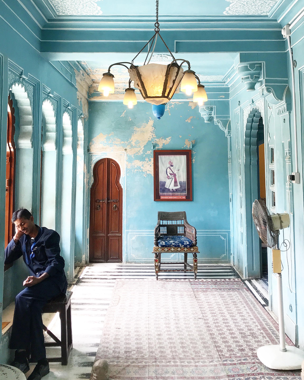 """Man in the Blue Room"" - City Palace, Udaipur © 2018 priya raj"