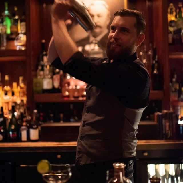 """""""The Peter Kern Library is a study in cocktail craft..."""" And we have our bar manager Kevin Armstrong to thank for that. He's been with us over 3 years now, and we love having him around. From teaching us the art of the garnish, to keeping track of custom drinks in a secret handwritten book behind the bar, we're so thankful for all you do, Kevin!"""
