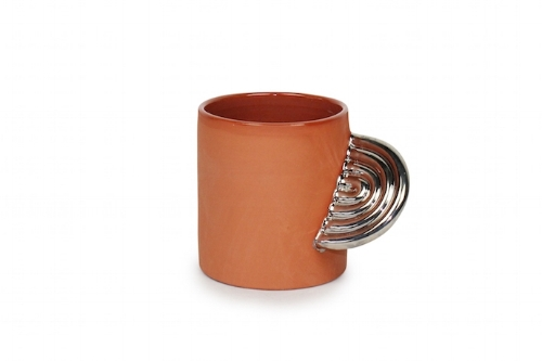 ARTIFACT MUG - TERRA COTTA WITH WHITE GOLD LUSTER