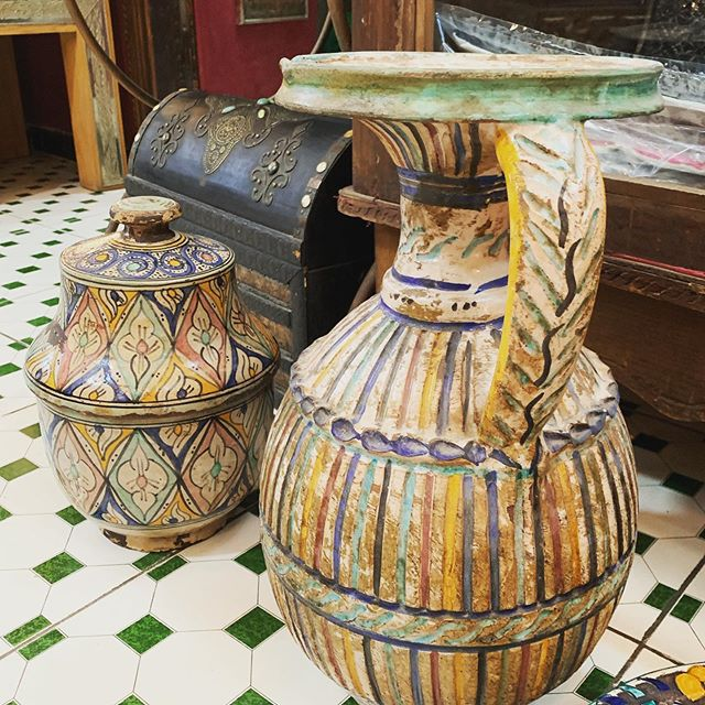 Antique Moroccan pottery heading to @workroom very soon! #moroccotomiami