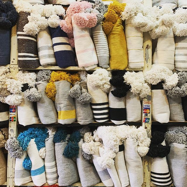 Moroccan cotton pompom blankets headed to @workroommiami