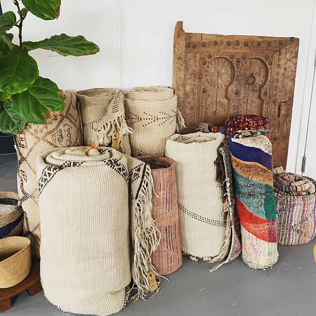 Overflowing with vintage rugs! These are sure to add warmth, character and cool vibes to any space. Available at @workroommiami #freshofftheplane #vintagemoroccanrugs #sourcedinmarrakech