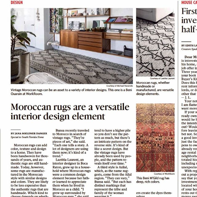An article on Moroccan rugs featuring WorkRoom with quotes by me @jenniferbunsa !! We've got about 25 beautiful rugs up for grabs. DM me to set up an appointment to come for a viewing.
