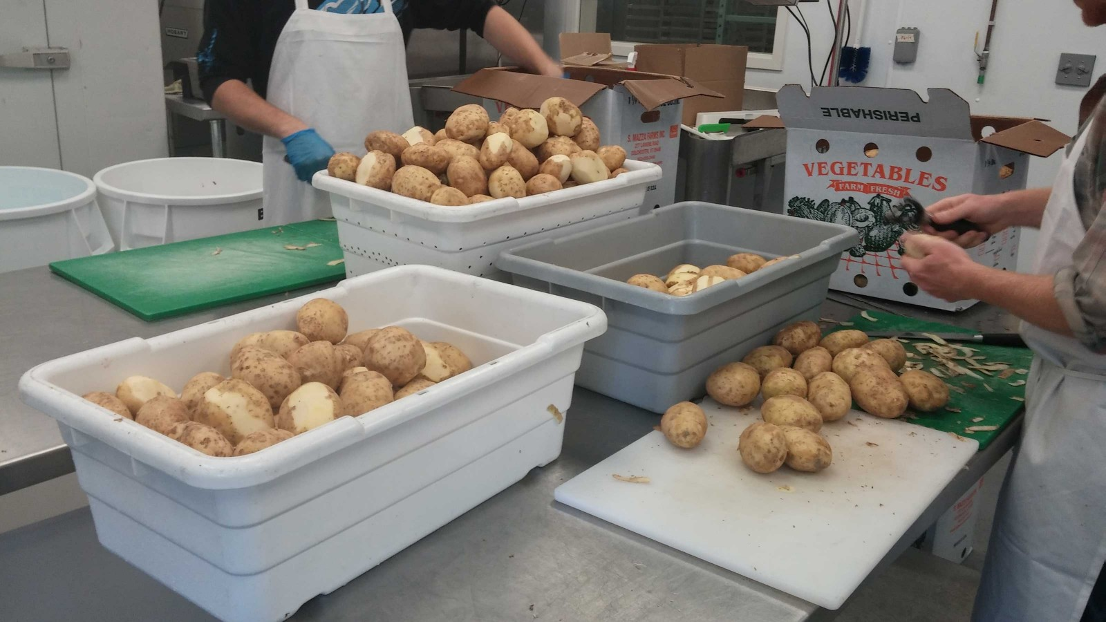 The Vermont Food Venture Center provides the staffing and space necessary for processing large quantities of food, like these locally grown potatoes, into storable goods and valuable donations.