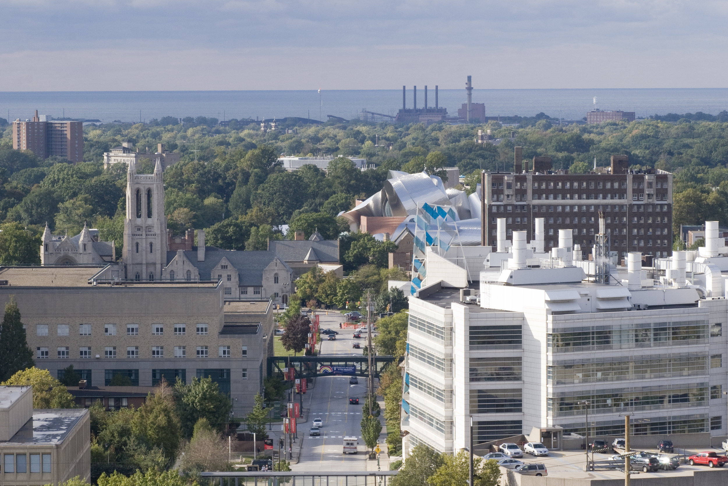 The center of University Circle is the home of three big anchor institutions: University Hospital (foreground), Case Western Reserve University (with its metallic-roofed Frank Gehry-designed management school) and Cleveland Clinic (off camera to the left).