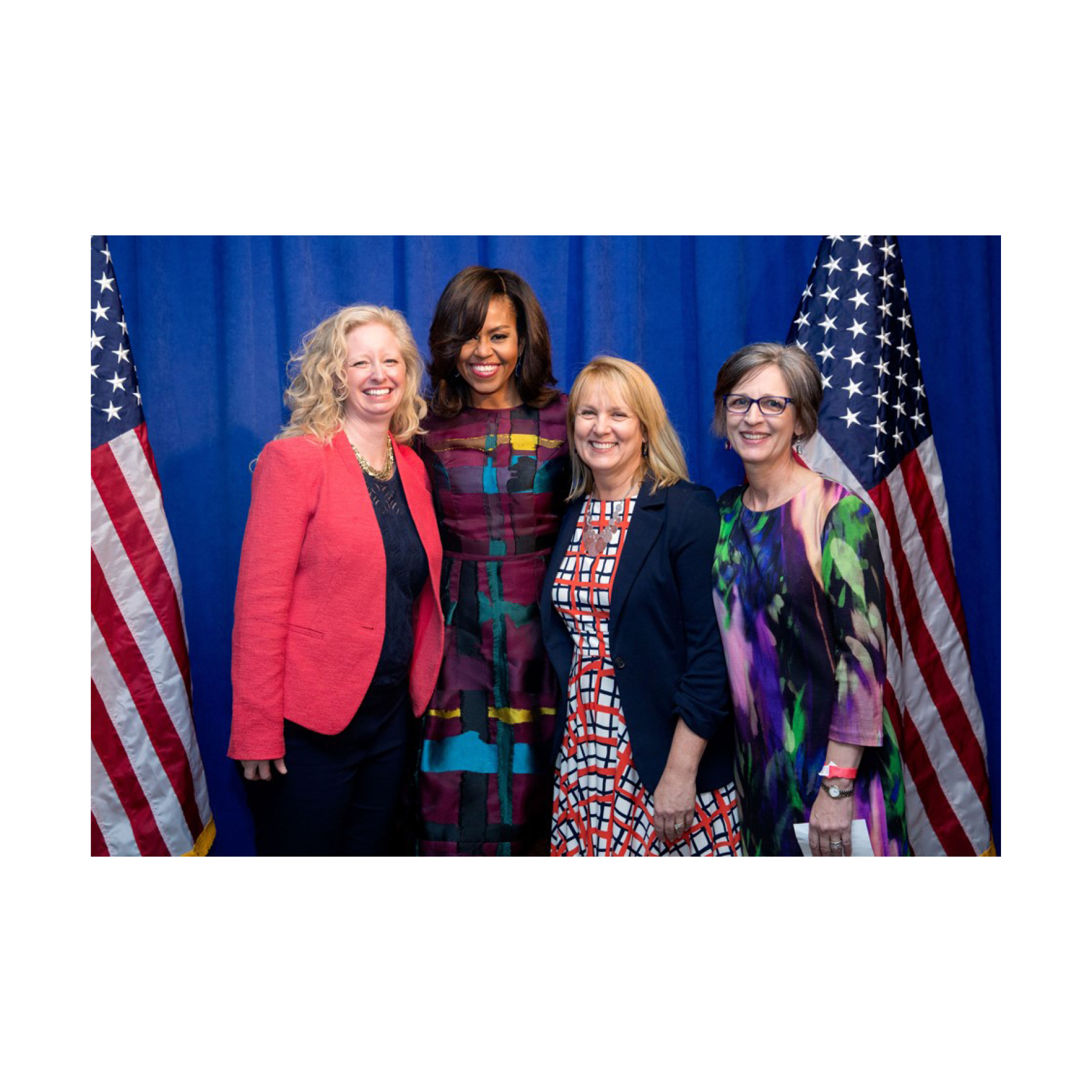 2016 —After Barb co-founded Dining for Women in 2003, the organization partnered with the Peace Corps as well as Michelle Obama's Let Girls Learn initiative, to take down barriers and send 62 million girls to school. ( Left to right: Beth Ellen Holimon, DFW president; Michelle Obama; Marsha Wallace, DFW co-founder; and Barbara Fintel Collins, DFW co-founder; photo courtesy of Barack Obama Presidential Library)