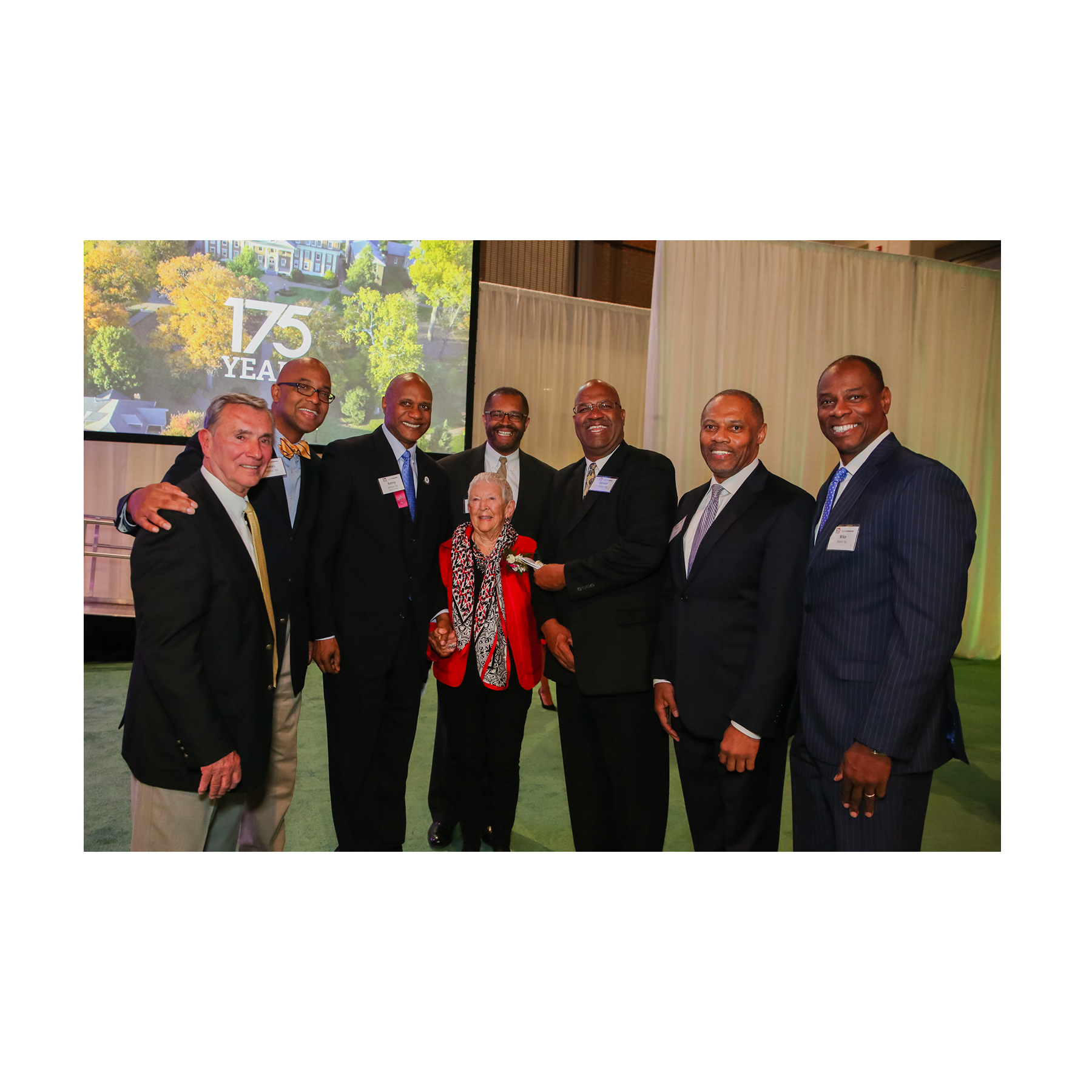 April 7, 2017 —Jo and Norm had previously asked our family to attend the Roanoke College Medal Award Ceremony during Alumni Weekend. Norm died four hours before it started. Walking into the ceremony, the family was greeted by Coach Ed Green (far left), Kenny Belton (third from left), along with two basketball team members and the Four Horsemen, who had all flown to Roanoke specifically to surprise Norm and Jo for the event. Jo asked Kenny to sit in Barb's father's place at the family's table.  (photo courtesy of Roanoke College)