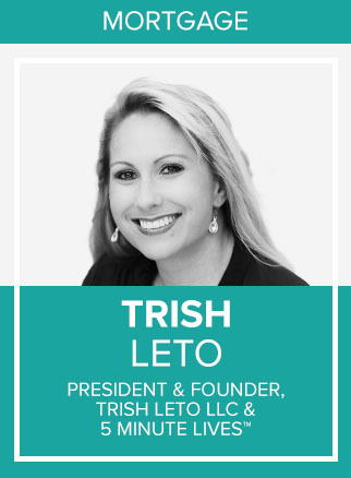 - Trish Leto is a U.S. Navy Veteran and happily married mother of two with almost 20 years mortgage experience. She was laid off during the market crash of 2007 and unemployed for 7 months. During that time, she promised herself she would always stay educated to stay afloat, learning new skills as needed. After realizing a failed network marketing business in 2016, she had a fire in her eyes to understand the marketing world.Trish has quickly become known as the go-to expert for Live video marketing and is the founder of the low-cost lead generation method known as 5 Minute Lives™. She's helped hundreds of business professionals increase revenue through live video, with clients ranging from website designers, fashion designers, real estate agents, mortgage professionals, and more. As a sought-after speaker, Trish has also been featured in numerous online magazines and summits and was a featured speaker at the Military Influencer Conference in 2018 for her Monetize Live Video Content presentation. She's interviewed over 100 industry experts via Facebook Live, which she turned into her own podcast called The Expert Connection Podcast With Trish Leto, available on iTunes.Her mission: Empower entrepreneurs to Press Live With Purpose™ and increase revenue with 5 Minute Lives™.Socials: FB, IN, IG
