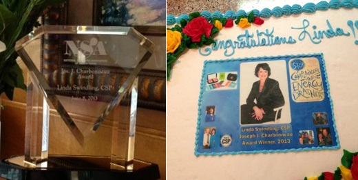 Photo of the Joseph J. Charbonneau Award I received along with a congratulatory cake with my picture on it!