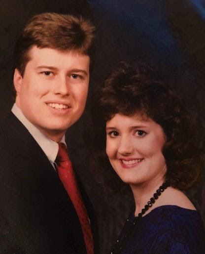 Our engagement picture circa 1988 - young college students in love.