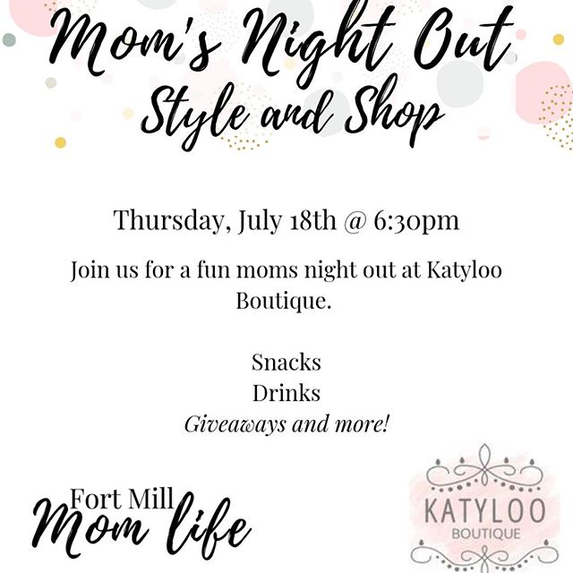Moms!!! Our next moms night out is coming up fast! We can't wait to hang out with the amazing ladies at @katylooboutique! @katylooboutique is one of our favorite places to go! . They always have such cute items and have help us mommas our often! I don't know about you but I know I get way to overwhelmed shopping and have no idea what styles or colors work for me. The ladies @katylooboutique always nail it and have helped this momma get her groove back for sure! . We can't wait to see y'all there! Don't forget to register (link in profile) for your raffle ticket!!!