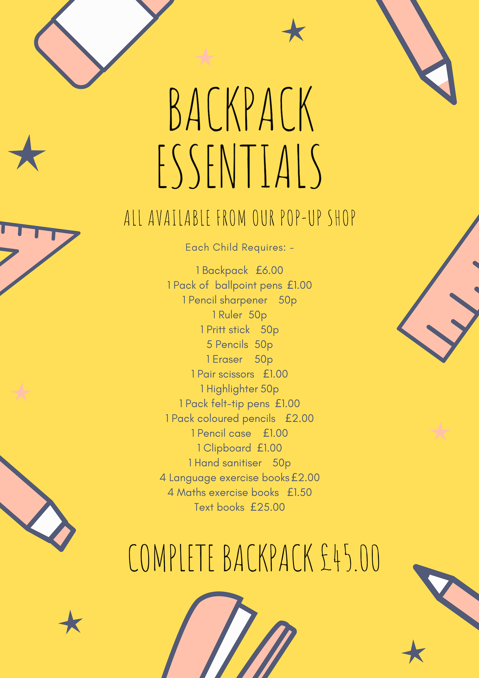 Backpack EssentialsAvailable from our 'Pop-up Shop'. - Every Sunday in March 2019Somerset Hall, Portishead9:30am - 11:00am