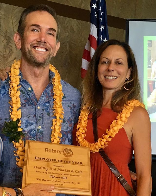 What an honor!  @hanaleirotary ❤️ Congratulations to Healthy Hut Market and Cafe for being recognized as the Rotary Club of Hanalei Bay's 2018-2019 Employer of the Year! Monique, Scott and Joseph have created a family, o'hana, that supports its employees, customers and community. Offering pay above the line and generous benefits, its also a fun and nurturing place to work. Quality thoughtful products fill the store as do lessons on how to take care of our environment. Mahalo Healthy Hut for all you bring to creating and sustaining health in our community!🌺🌱 #seeyouatthehut #hanaleirotary #luckywelivekauai #healthyhutkauai