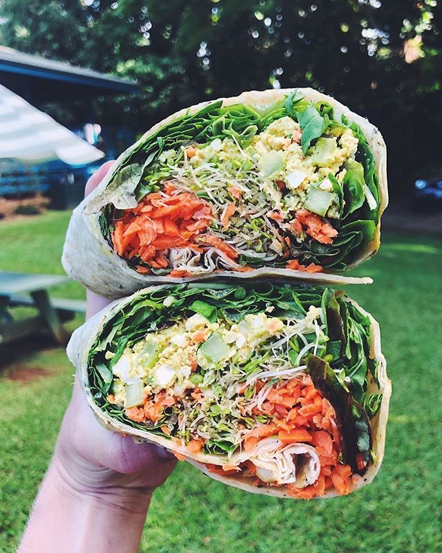 "@megjosephson ""Being spoiled with vegan food over here🤤 Been enjoying lots of smoothies, veggie tacos, papayas, mangoes, pizza, and wraps like this one, packed with tofu scramble + lots of veggies.  When I first went vegan, I was pleasantly surprised to find out how easy it was to dine out. But if you're eating at a very non-veg place with friends or family, try looking for naturally vegetarian dishes (tacos, salads, bowls, wraps, pizza, pasta) and asking for no cheese. Or stick to Asian-inspired foods like sushi, curries, noodle dishes, etc. that naturally have little dairy and are often already plant-based. Hope you have a beautiful day! 🌟"" • Posted @withrepost •  Wow! Thank you for taking this delicious looking picture & the helpful vegan tips 🥰 Aloha & Welcome! We hope you stop by again and say hello 💚👋 #seeyouatthehut"
