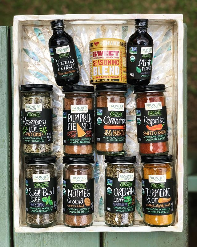 Make sure dinner tonight is tasty with our huge selection of seasonings from @frontiercoop (this is only a small fraction of our collection😳)! Even the packaging is adorable! #frontiercoop #seeyouatthehut