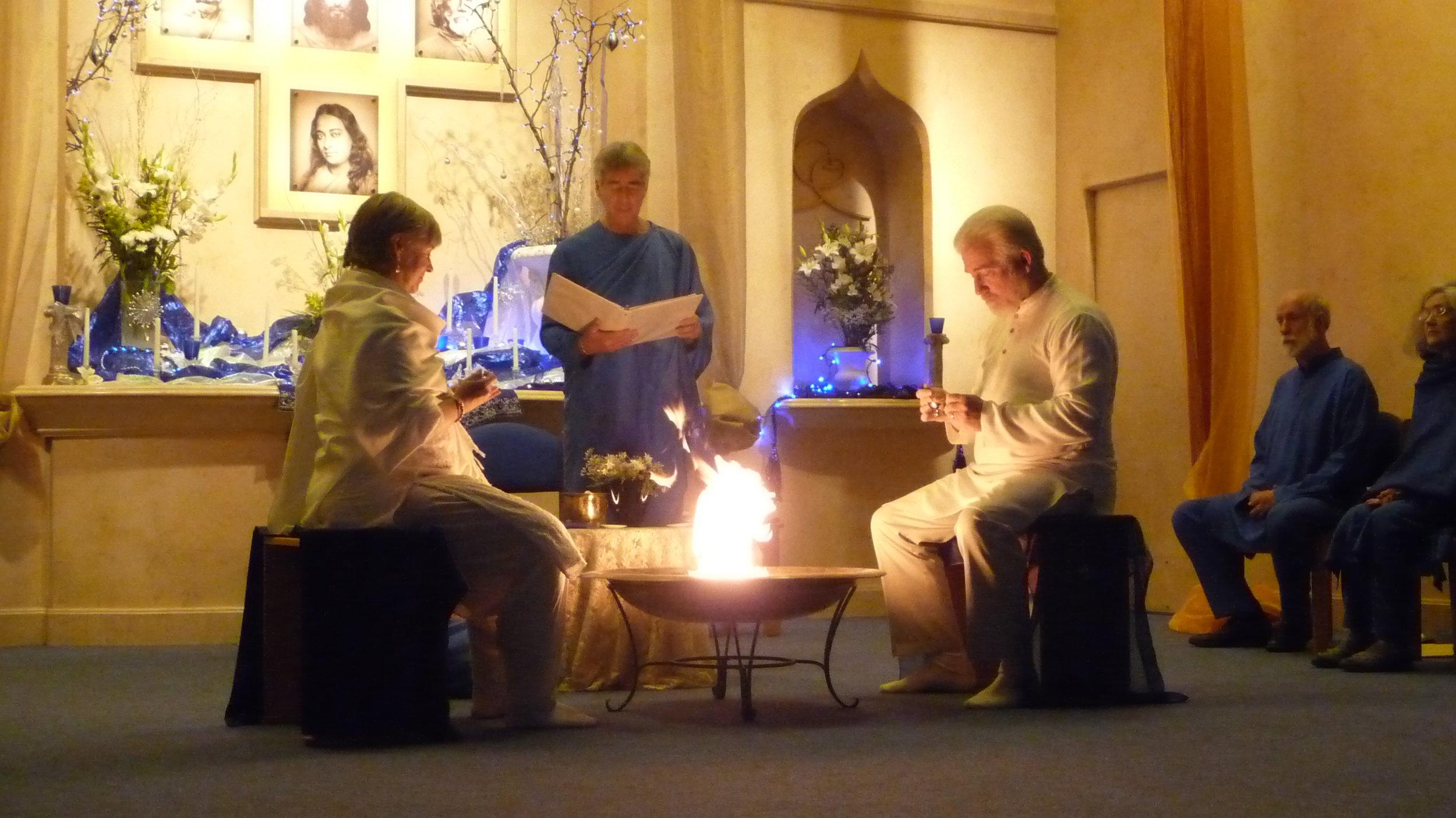 2012 initiation: Lahari and Biraj taking Nayaswami vows
