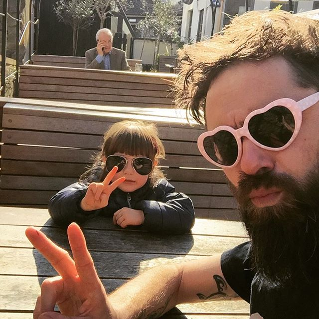 Suns out, guns out... Rocking it in Bristol with our no.1 fan and newest recruit #bristolfood #bangingburgers #globalwarmingisahoax #coolshadesbro