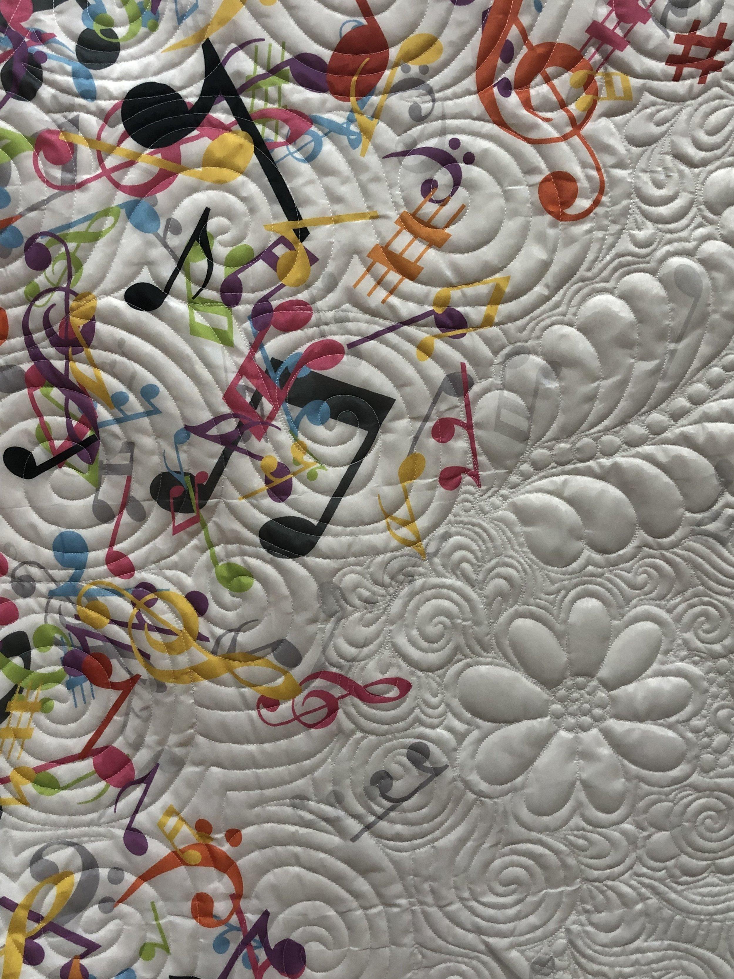 Stitching around music symbols