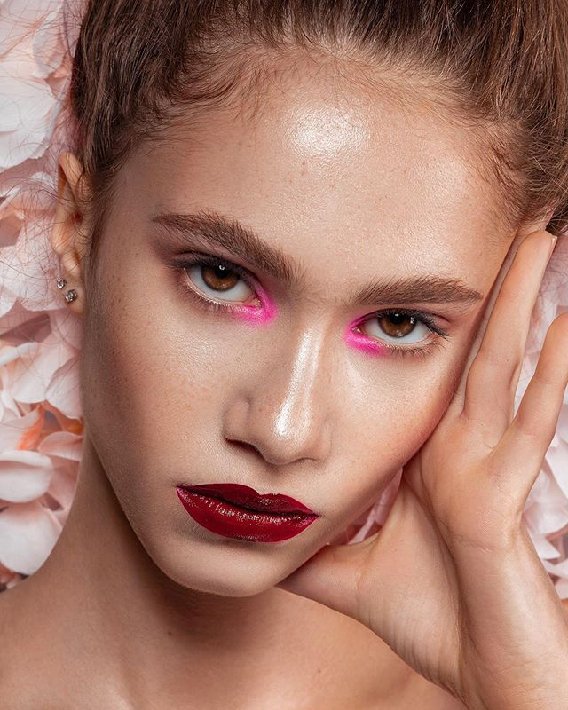 "What's your favorite part of this look? 💖 the pink inner corners 🔮 the vampy lips 💜 the bushy brows ✨ the glowy skin 👇🏼 Photo/MUA/Retouch | @jaybrans Model | @avabarrett with @statemgmt and @evomodelmanagement ✍🏼 Retouched using @retouchingpanels by @retouchingacademy 💄 Skin Prep | @SokoGlam Triple C Lightning Liquid + Neogen Serum Spray + Aloe Soothing Mask Pack Prime | @TouchInSolUS Priming Water + No Poreblem Primer Complexion | @JouerCosmetics Essential High Coverage Crème Foundation + @TouchInSolUS Pretty Filter Dazzling Finish Powder Eyes | @TooFaced Just Peachy Mattes + @BeccaCosmetics Shimmering Skin Perfector in Moonstone + @TooFaced ""Better Than Sex"" Mascara + @NYXcosmetics White Eye Pencil Brows 