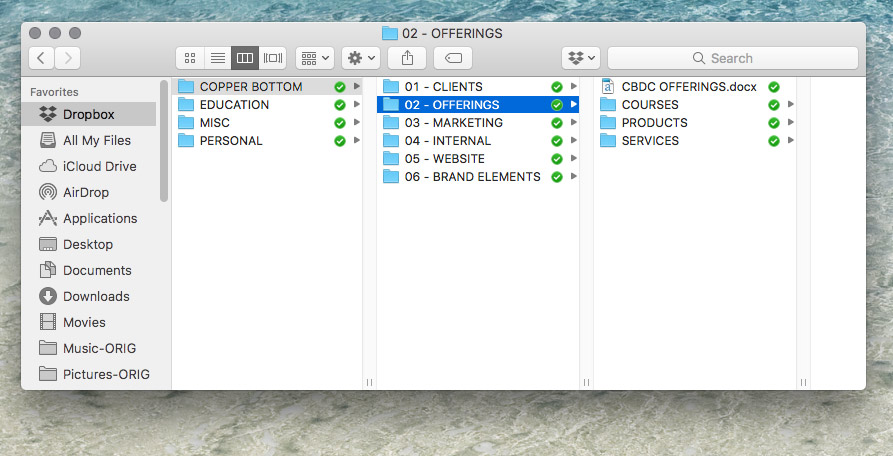 Organizing your business files with Dropbox by Copper Bottom Design Co.
