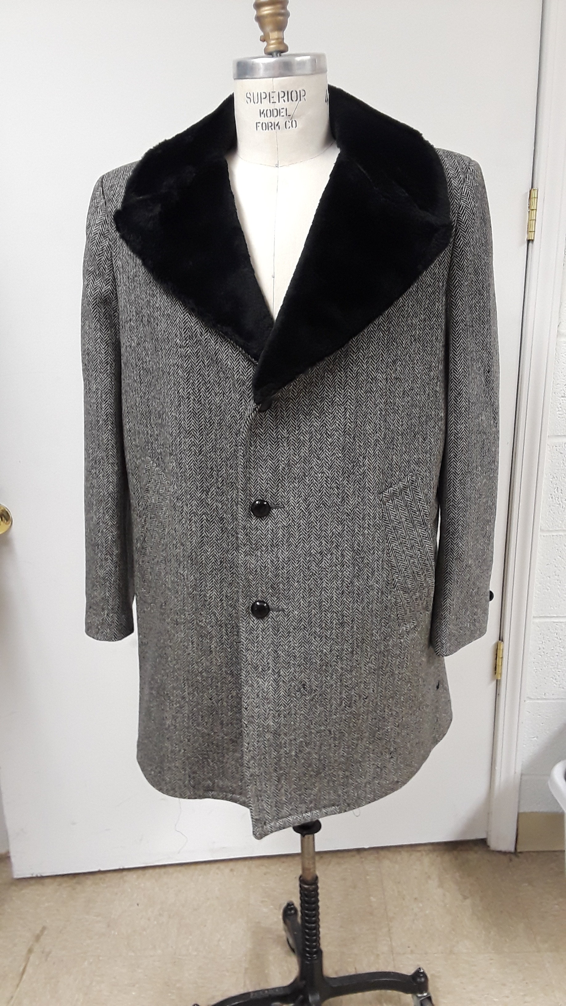 Thrift Store Alteration - Seal lined 1960s Men's Top coat in a large size converted to an early 19th Century Incroyable coat. Deconstruction, draping, tailoring, re-lining and final reconstruction all performed by Katherine Davis.
