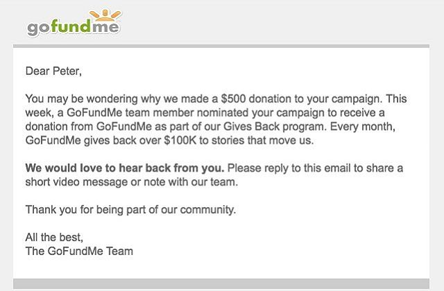 Way cool of you, @gofundme !!! #surpriselove #gainz