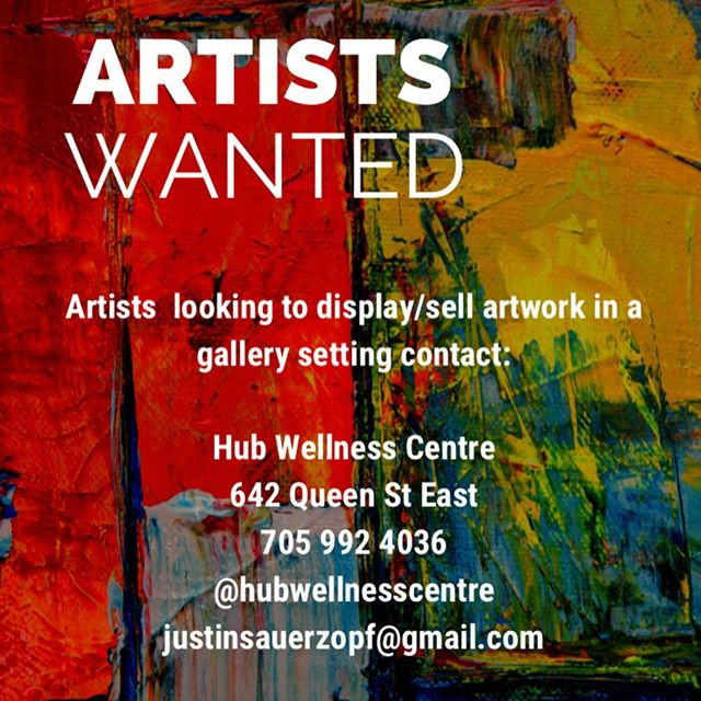**ATTENTION** Hub Wellness Centre is planning on sharing its space with local artists. We have such a nice space that we would love to have local artists come in and show off their hard work. . If you, or someone you know is an artist that would like to have a personal gallery to display and sell their artwork, feel free to contact Hub Wellness Centre for more information either though private message, Facebook message, or texting 705 992 4036 . #art #artfromthevoid #hubwellness #floatbeyond #artist #artistsoninstagram