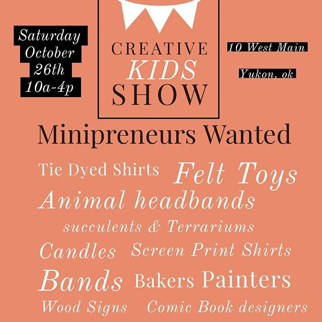 The bigger the better right?! MINIpreneurs WANTED!! The Creative Kids Show is still a few months away and we want to fill that space with the most amazing talented remarkable young artist around!! Link in bio to apply! #creativekids #localartist #minipreneurs #yukonok #10westmain  #kidsshow #sewingteacherlife #smallbusiness