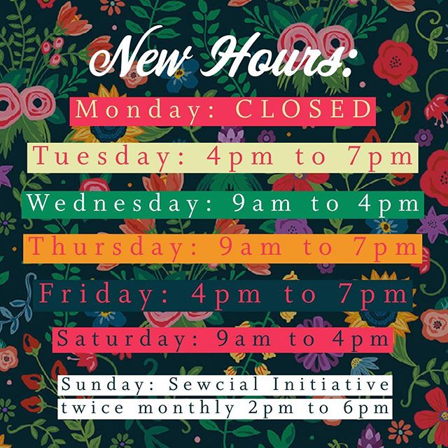 NEW HOURS Starting June 1st: Now that I've had two good years under my belt I have FINALLY found the perfect schedule for the busiest days, times, and a accommodating to my family! That said there will still be times I'm closed for events and holidays, but yay for consistently! 🤣🤣 #newbusinesshours #alwaysevolving #bossbabe #sewingteacher #yukonoklahoma #smallbusinessowner