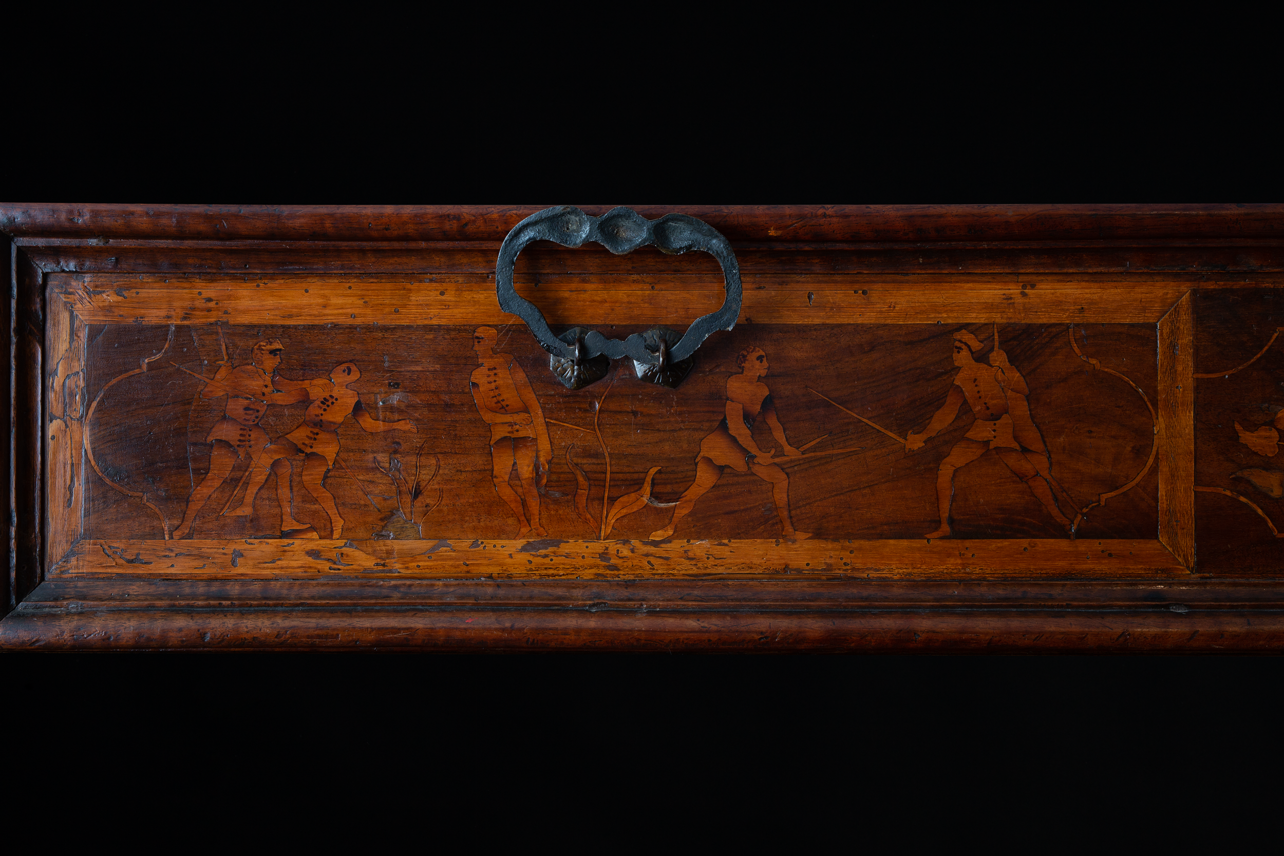 Details of the cabinet (chest of drawers - cabinet transformable into a desk of the type 'canterano'), Lombardy, 1590-1630. Wood, briar, metal. 1439 x 1120 x 610 mm.