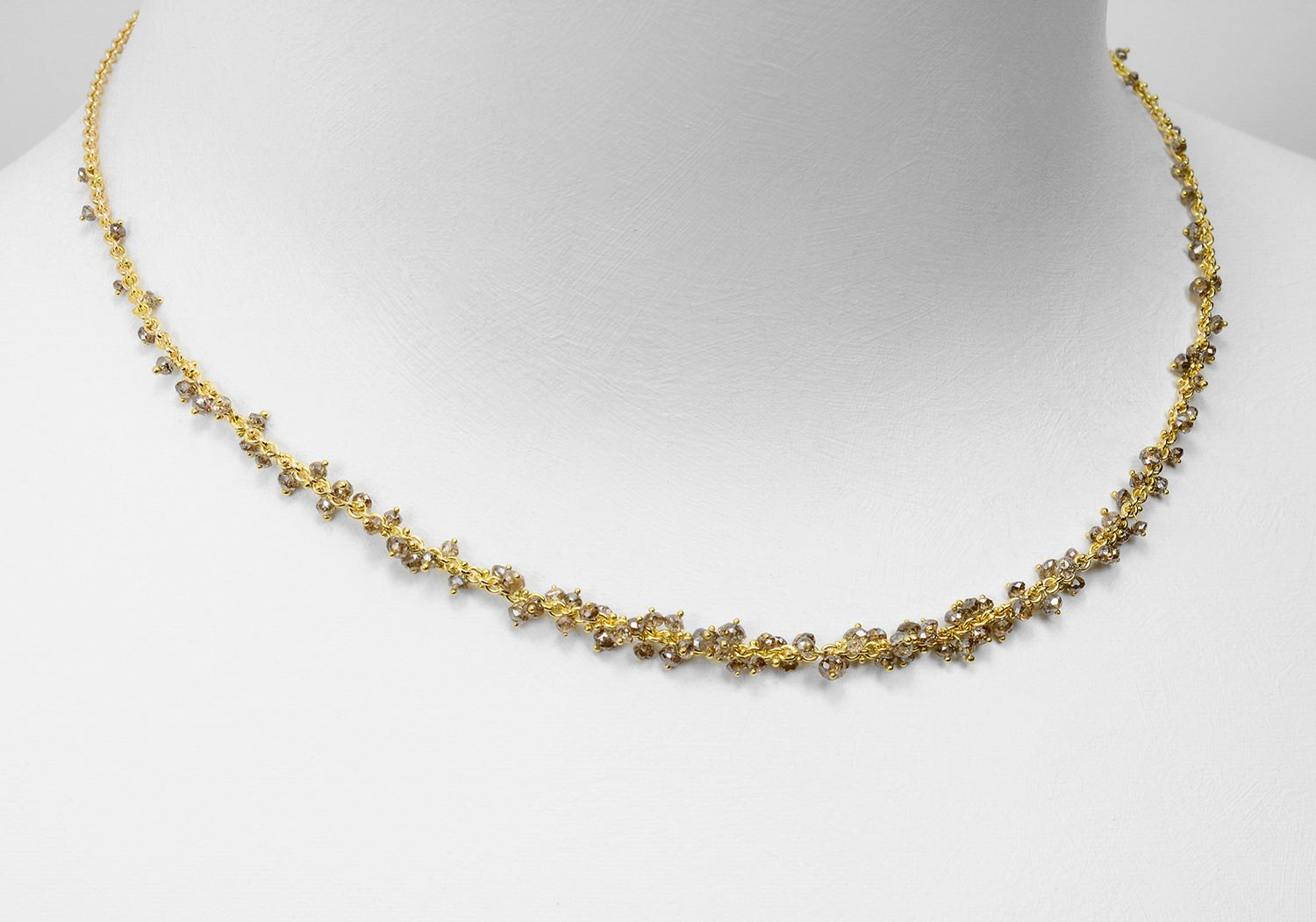 brown diamond bead necklace
