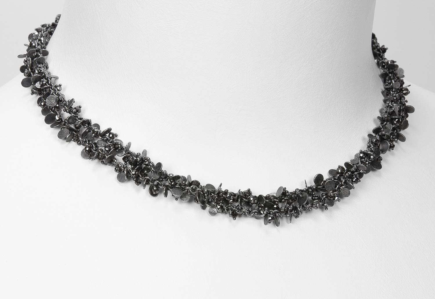 oxidized sterling and black diamond beads