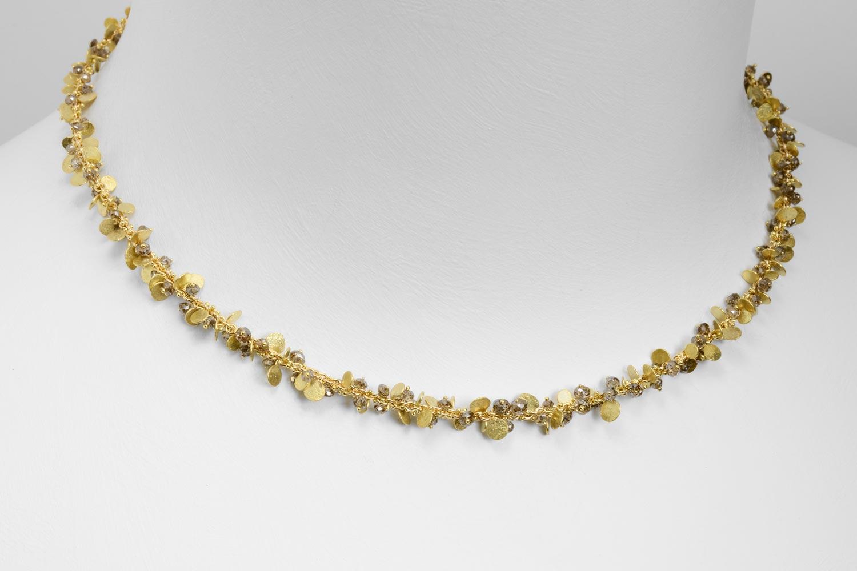 gold and brown diamond beads