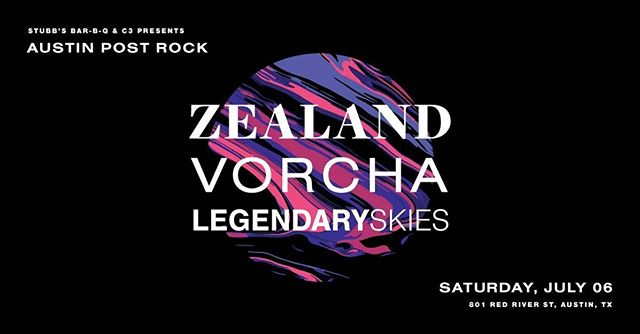 Really looking forward to sharing the stage with our friends @vorchamusic and @zealandthenorth on Saturday, July 6. Come out to @stubbsaustin for a night of awesome instrumental music. Tickets on sale now! Link in bio!