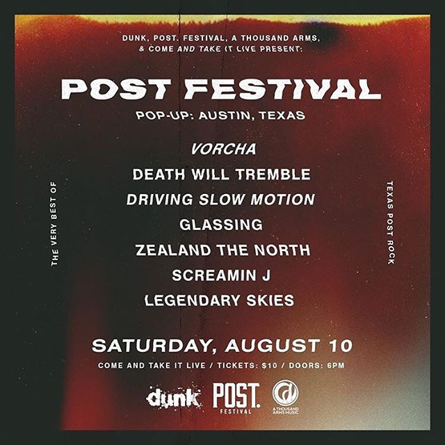 Next up on our summer series: Post Festival Pop Up: Austin, Texas at @comeandtakeitlive. This is an immense lineup of the best instrumental music in the area. We can't wait for this one! Join us on Saturday, August 10! @vorchamusic @glassingband @drivingslowmotion @deathwilltremble @zealandthenorth @screaminjmusic @dunkfestival @the_post_festival @athousandarms